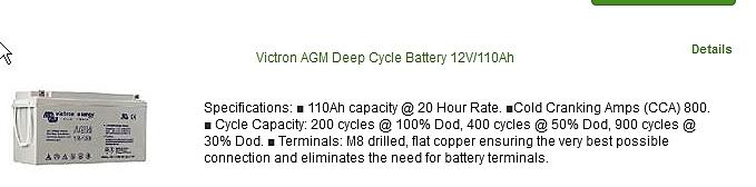 Batterie 12V 110A décharge lente ; Delta Nautic
